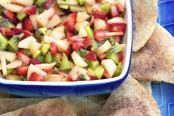 Fruit Salsa with Cinnamon-Sugar Tortilla Chips: This recipe is simple ...