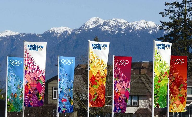 Love the patchwork design on the signs for the Winter OLYMPICS 2014  -- Quilt Olympics by Moda... the Cutting Table.