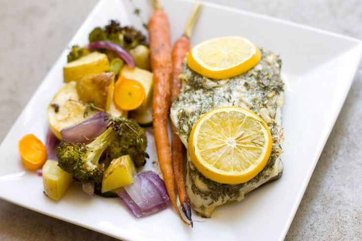 Easy and healthy - baked Halibut and Roasted veggies