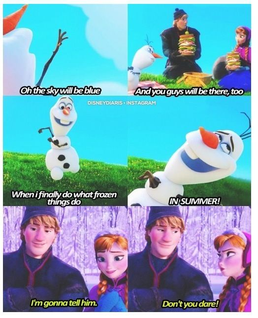 """""""I'm gonna tell him."""" *gasp* """"Don't you dare!"""" Love Frozen :D can't wait for it to come out on DVD!"""
