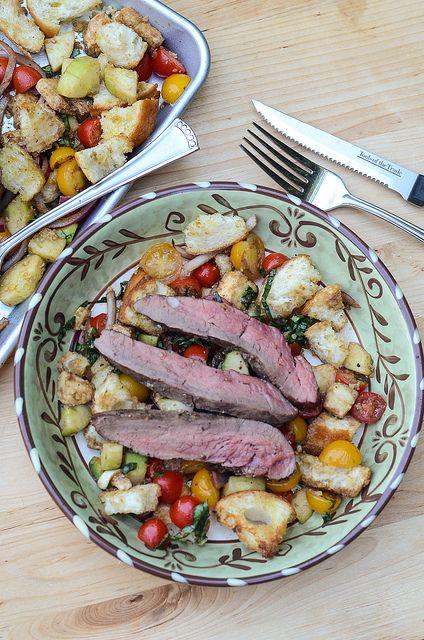 Panzanella Salad with Grilled Bison Flank Steak | Recipe