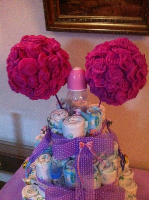 Torta pa ales con flores en papel crepe decoraciones - Decoraciones de papel ...
