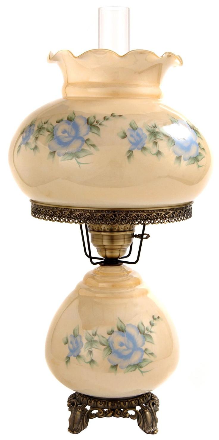 large blue rose night light hurricane table lamp. Black Bedroom Furniture Sets. Home Design Ideas