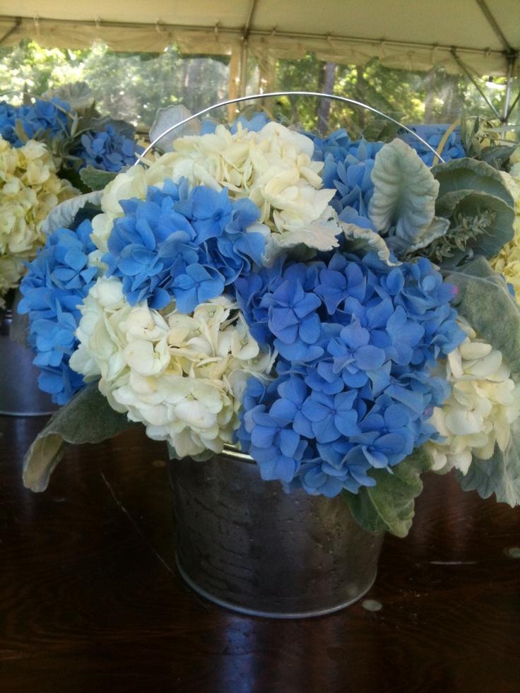 Blue white hydrangea centerpiece hydrangeas pinterest