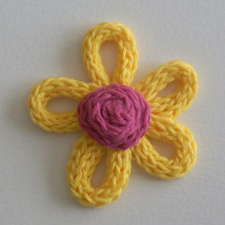 French Knitting Flowers : French knitting flower knit pinterest