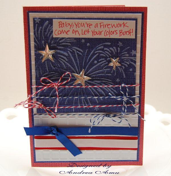 Handmade Patriotic Firework Greeting Card