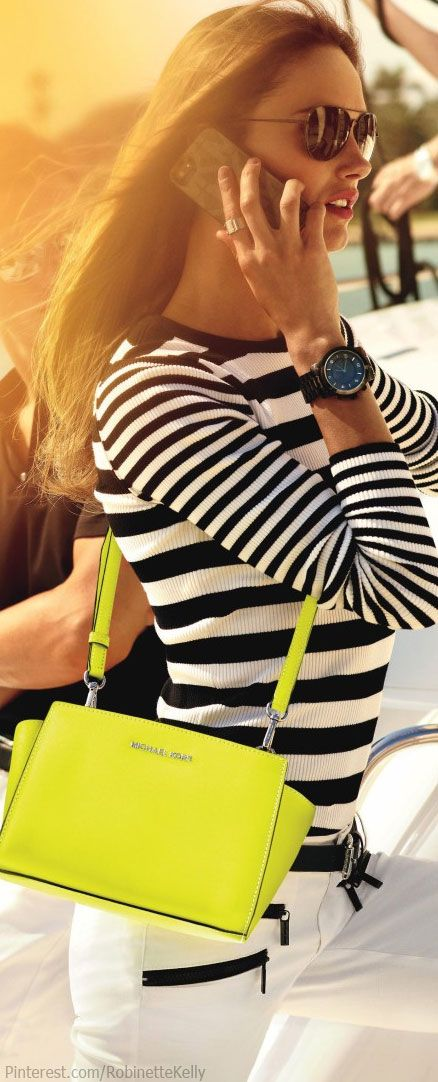 stripe sweater yellow hand bag