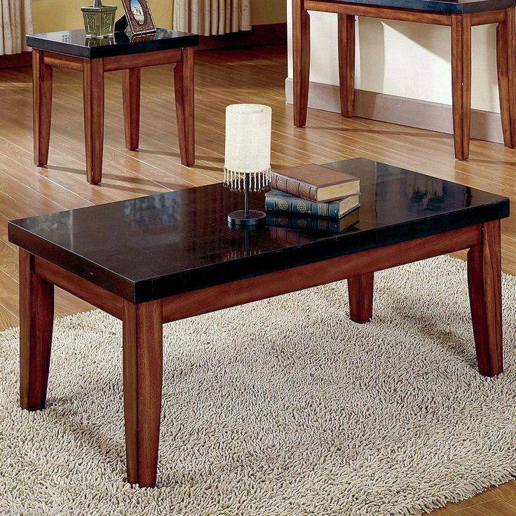 Wood Coffee Table With Granite Top : Coffee Cocktail Granite Top Table Living Room Wood Furniture Modern E ...