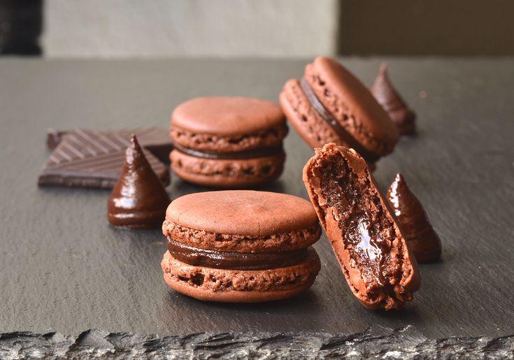 Dark chocolate macarons with an easy delicious chocolate ganache