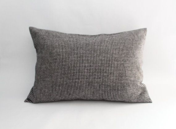 Black And White Houndstooth Throw Pillows : Plaid Pillow Cover: Black and White Houndstooth Flannel Pillow Cover,?