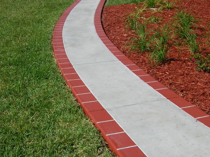Sidewalk w brick edge pattern outside pinterest for Brick sidewalk edging