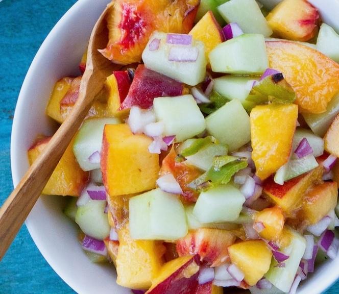 Grilled Peach & Cucumber Salsa | Sauces & Dressings, etc | Pinterest