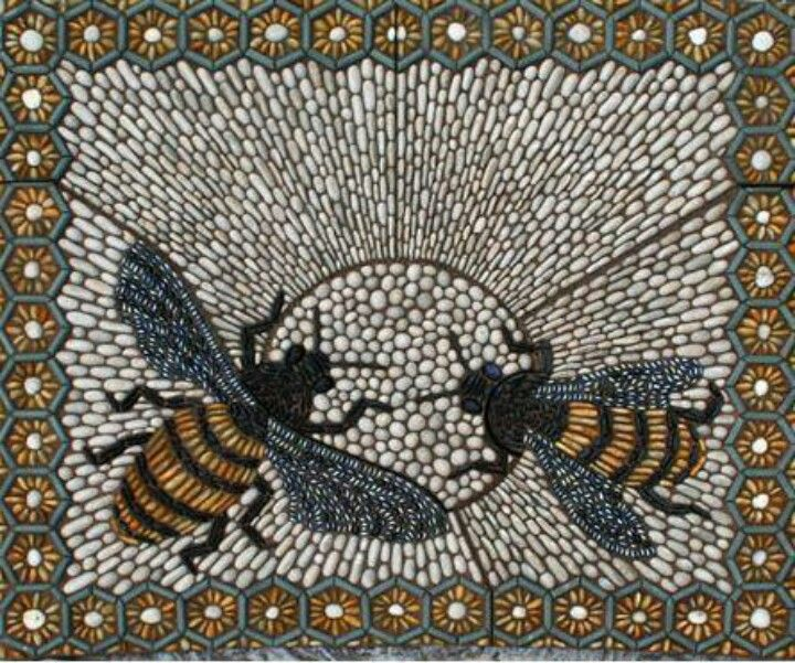 Pebble mosaic beautiful outdoor living pinterest for Garden mosaics designs