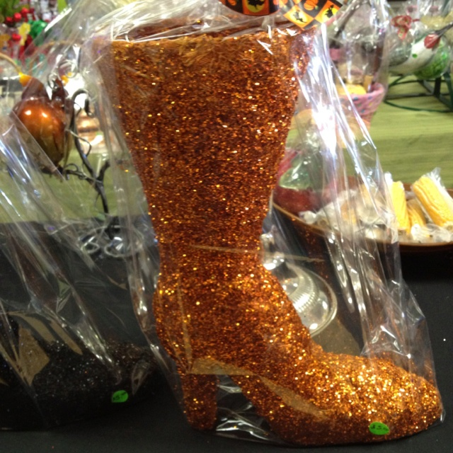 Glitter mesh Halloween boot perfect for fall flower arrangements