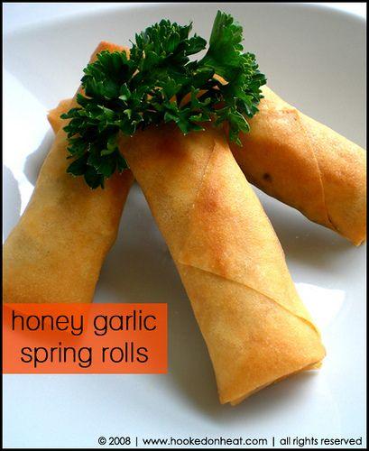 Honey Garlic Chicken Spring Rolls | Food | Pinterest