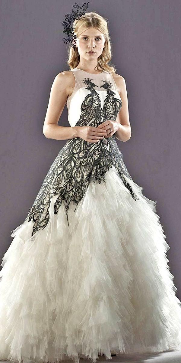 Peacock feather wedding dress