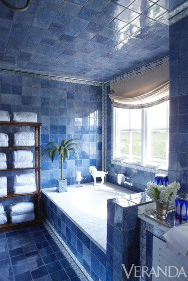 Blue Bathroom floor to ceiling tile Beautiful