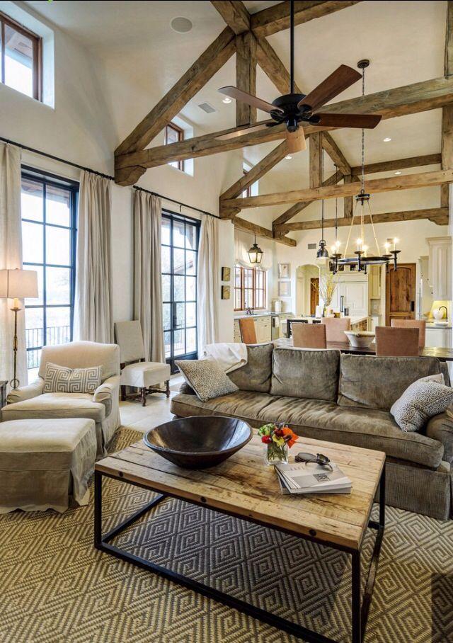 Rustic Living Room Wood Beamed Ceilings Home Sweet Home Pinterest