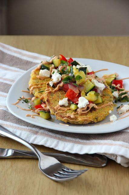 Chipotle Corn Cakes with Goat Cheese and Roasted Vegetables (With ...