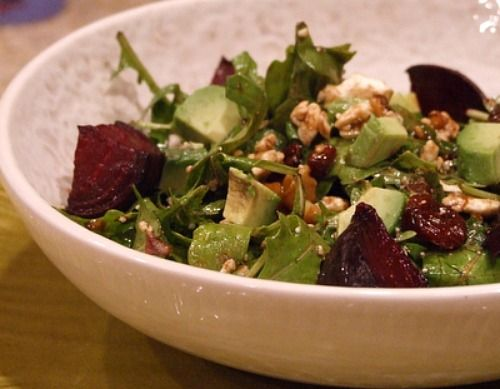 Beet and goat cheese arugula salad... the caramelized beets are to-die ...