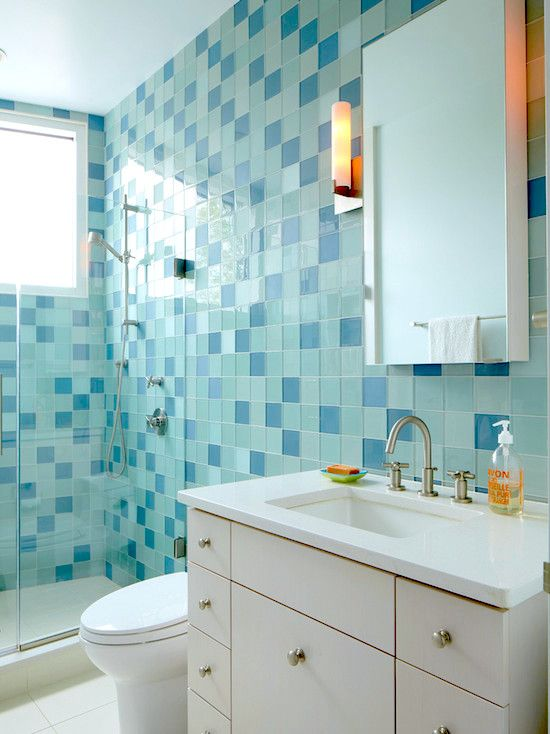Bath tiles in different shades of blue for the home for Different bathrooms