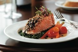 Hazelnut-Crusted Salmon with Brown Butter and Balsamic Vinegar