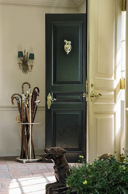 classic front entry, black front doors
