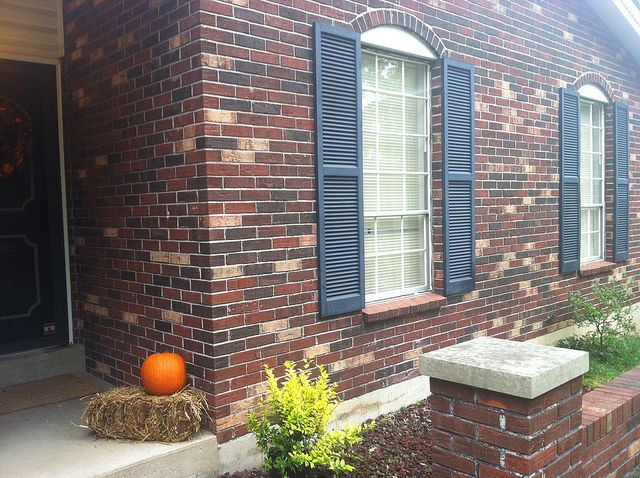 Blue Shutters On Brick For The Home Pinterest
