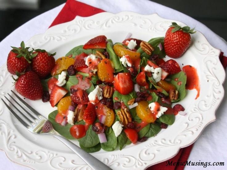 strawberry-spinach-mandarin orange salad with strawberry vinaigrette
