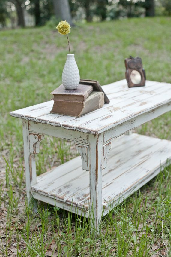Rustic White And Brown Coffee Table Made From By Foundpiece