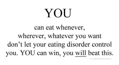 Don't let your #eatingdisorder control you. YOU can be in control #Recovery
