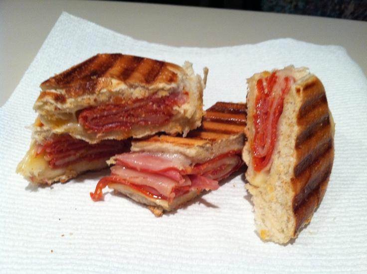 Pepperoni, provolone cheese, and salami panini...yum!