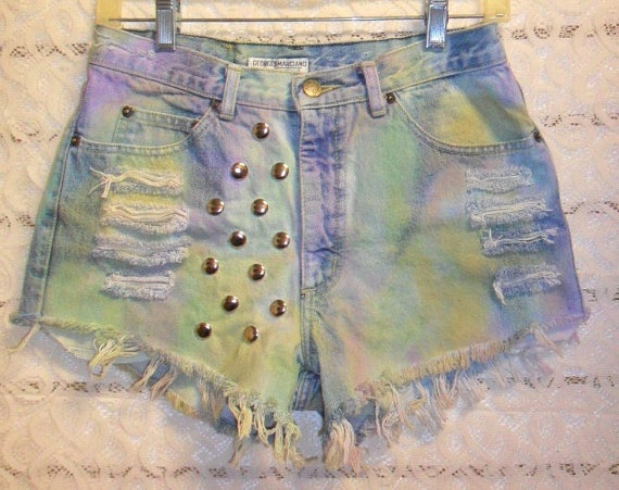 Vintage Guess TIE  Dyed  Denim Shorts  by GypsysTreasureCove, $38.00