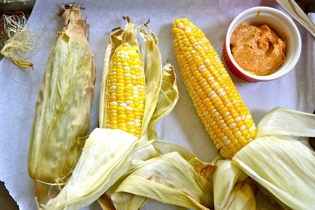oven roasted corn with honey chili butter - Budget Bytes