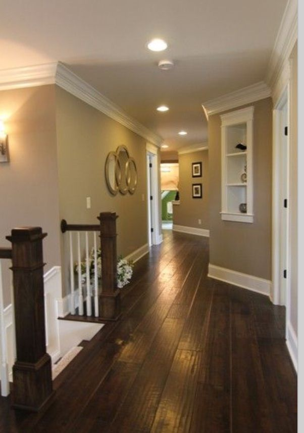 Dark floors white trim warm walls for Warm floor