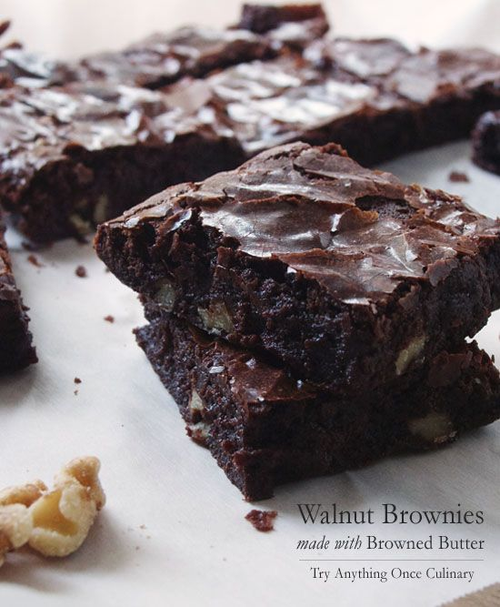 Walnut Brownies made with Browned Butter | www.tryanythingonceculinary ...