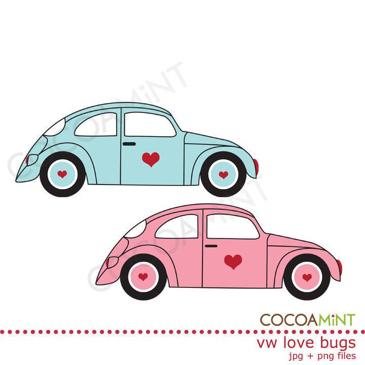 VW Love Bugs Clip Art by cocoamint on Etsy   2 00Vw Bug Clipart