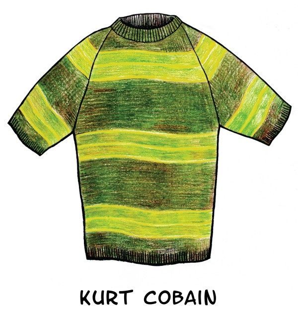 Of course Kurt Cobain would make the list of 9 Iconic Sweaters Drawn From Pop Culture. #nirvana