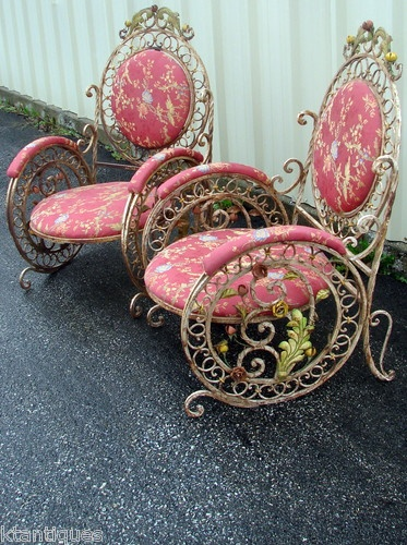 Pair antique victorian architectural iron garden chairs hand wrought 1890's 41dc35ccec412f37b930717976ef490a