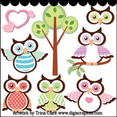 Spring Owls Clip Art