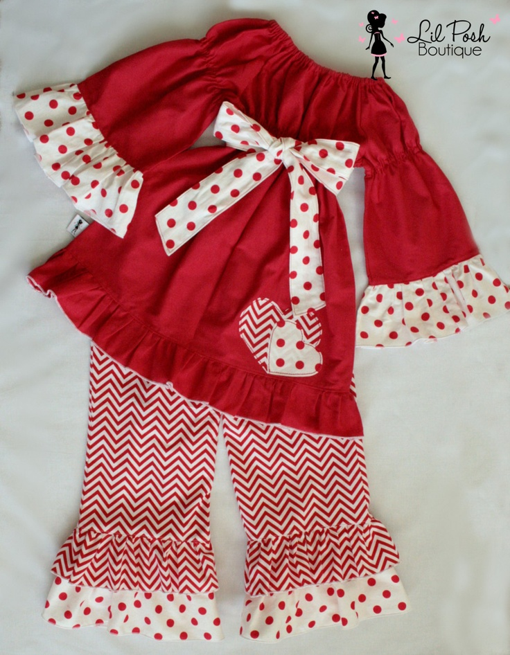 Girls Valentines Tunic and Ruffled Pants Set : Red and White Chevron Stripe - Valentines Day Clothing. $55.00, via Etsy.