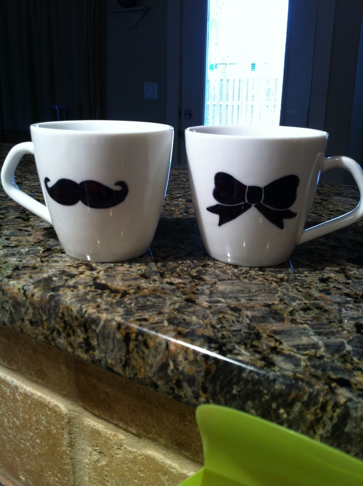 Mugs.. adorable! I like the bow way better than red lips paired with the mustache!