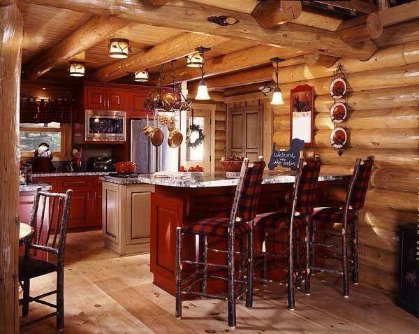Cabin Kitchen In Red Cabin Pinterest