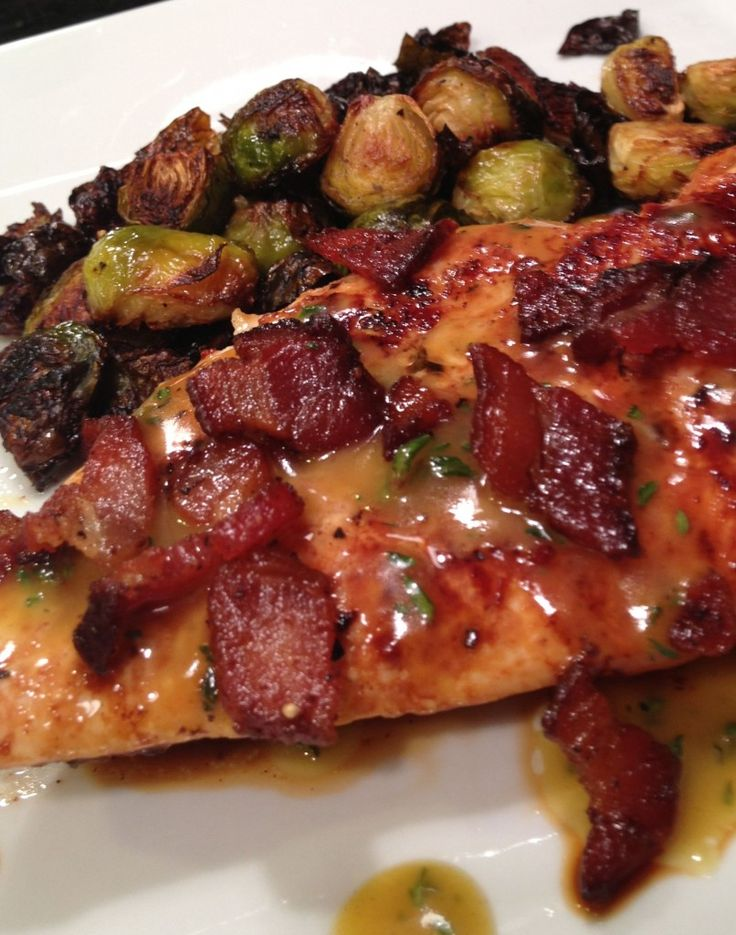 Honey Mustard Thyme Chicken with Bacon Brussels Sprouts.