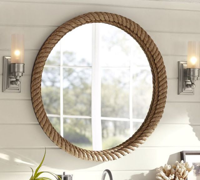 Pottery Barn Rope Mirror Decor
