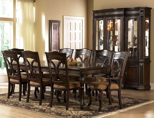 dark wood dining room set with leg table costa dorada collection by