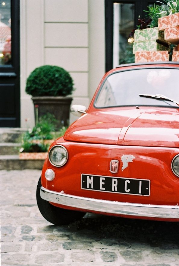 Vintage red Fiat, Merci, Paris