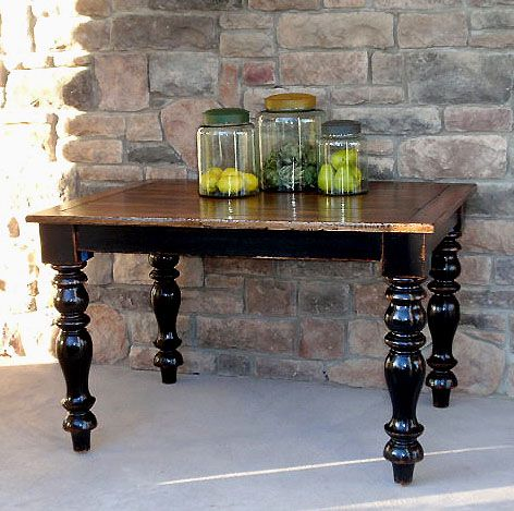 Kitchen table inspiration black legs and wood finish top for Wood top kitchen table