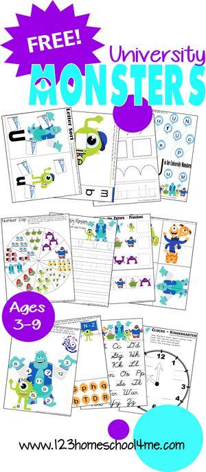 FREE University Monsters Worksheets (Toddler, Preschool, Kindergarten, 1st, and 2nd Grade)