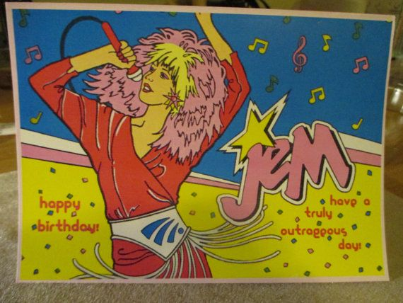 Jem inspired greeting card happy birthday on etsy 3 00